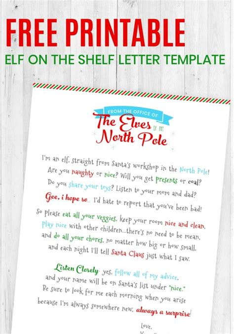 printable elf   shelf letter template