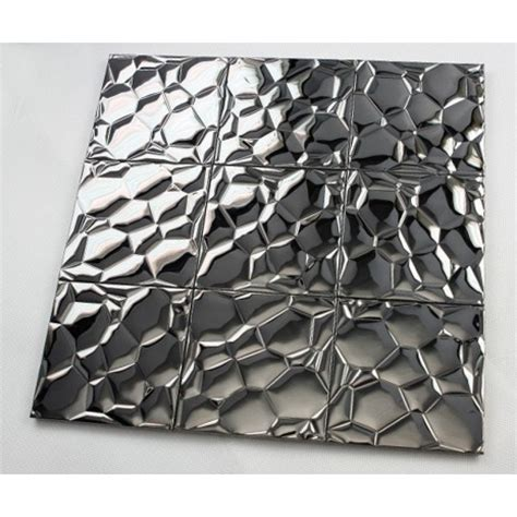 Metallic Mosaic Tile Stainless Steel Tile Patterns Kitchen