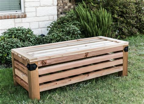 build  outdoor storage ottoman  plans  house  wood
