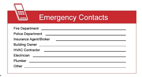 emergency contacts card cunningham insurance agency