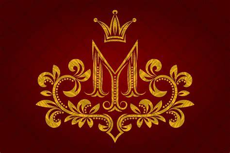 patterned golden letter  monogram logo templates creative market