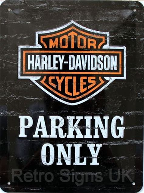 harley davidson parking  embossed decorative wall sign