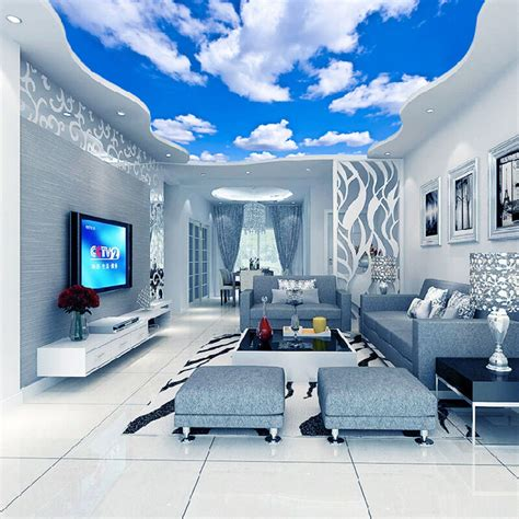 Blue Bedroom Wallpaper by 3d Wallpaper Blue Sky White Clouds Murals For The Living