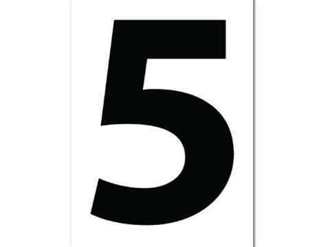 Number 5 Print Poster White Typography Print Poster Canvas