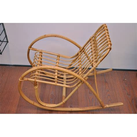chaise 224 bascule enfant en rotin