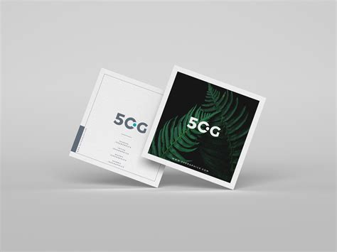 brand square business cards mockup psd  graphics