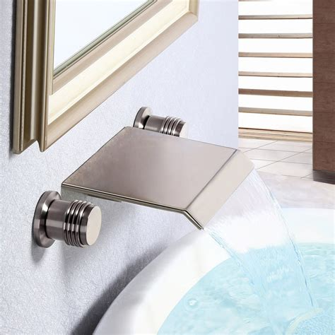 moda waterfall brushed nickel handle wall mounted sink faucet bathroom sink faucets