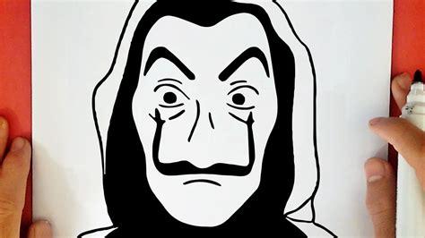 comment dessiner le masque de la casa de papel youtube