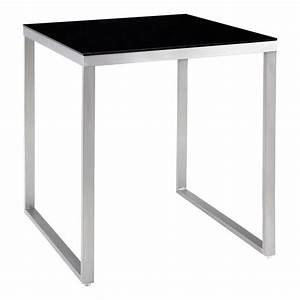 Table De Bar : table de bar carr e 90 cm acier et verre tremp achat vente mange debout table de bar ~ Teatrodelosmanantiales.com Idées de Décoration
