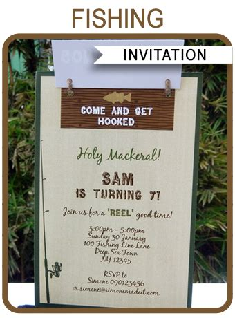fishing party invitations template birthday party