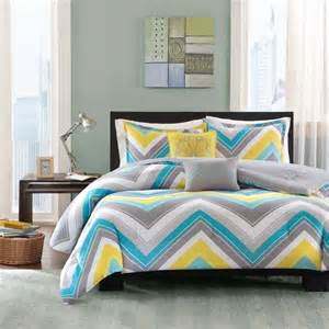 sporty chic teal blue grey yellow white chevron geometric stripe comforter set ebay