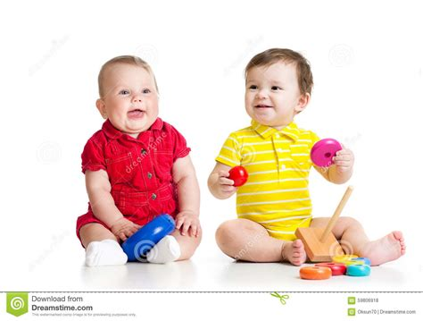 Two Adorable Children Playing With Toys Toddlers Stock