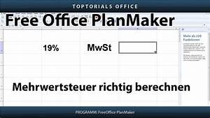 Mehrwertsteuer Berechnen : mehrwertsteuer richtig berechnen freeoffice planmaker toptorials ~ Themetempest.com Abrechnung