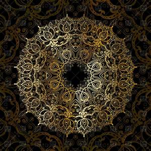Gold mandala on black background - ethnic vintage pattern ...