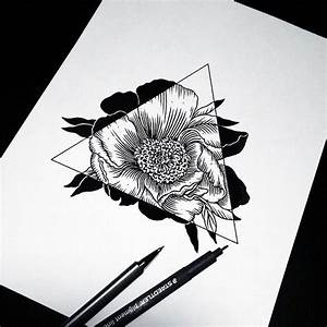 art, drawing, flowers, hipster, sketch, triangle (Diy ...