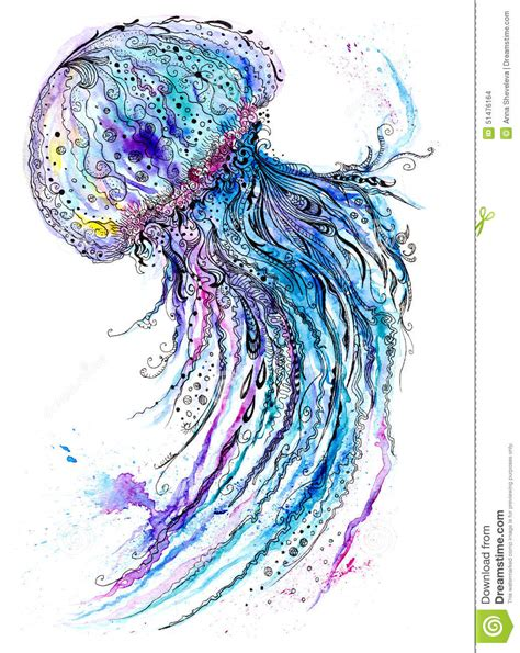 Jelly Fish Watercolor And Ink Painting Stock Illustration