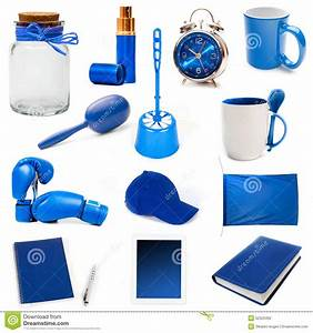 Diversos Objetos Azules Foto de archivo Imagen: 52520492