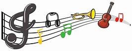 Instruments de musique avec des notes de musique en ...