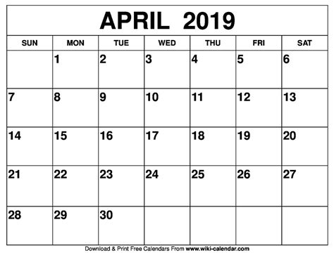 Design Calendar Blank April 2019 * Calendar Printable Template