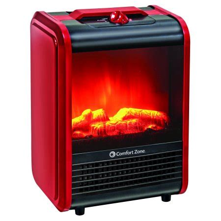 comfort zone mini electric fireplace space heater red