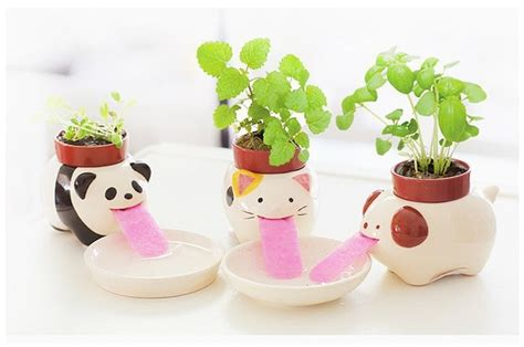Ceramic Self Watering Plant Pot Mini Drinking Animal