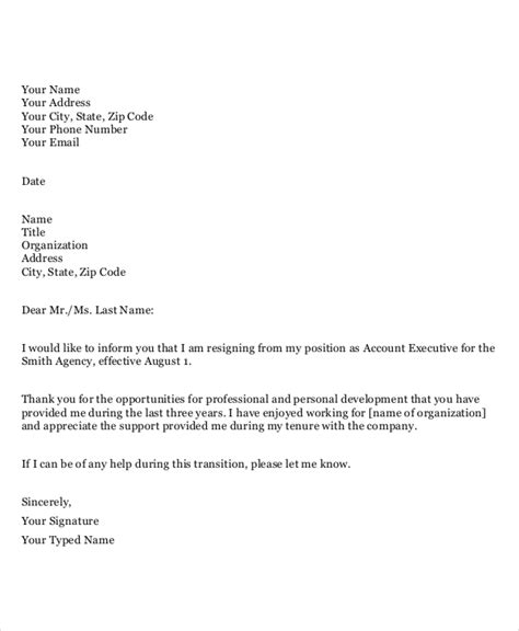 resignation letter sle 2 weeks notice template of a notice letter 28 images 6 exle 1938