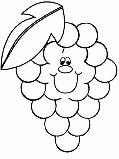 Fruit Coloring Pages Printable Grapes Vegetable Frutas