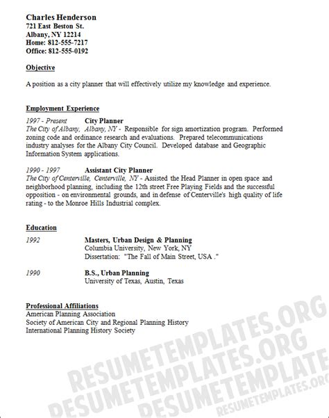 city planner cv template free resume sles
