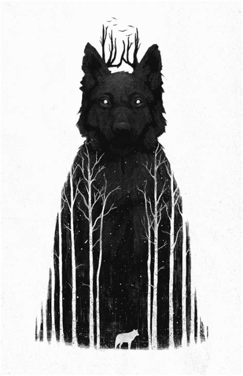 Winter Drawing Illustration Art Animals Wolf Design Indie