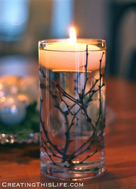 Winter Centerpiece with Twigs and Floating Candles
