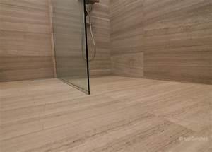 Curbless limestone shower ceramiques hugo sanchez inc for Porte douche sans seuil