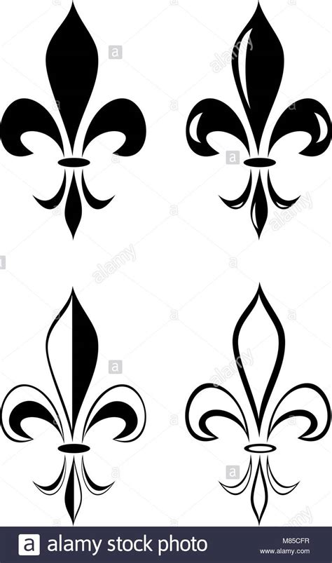 une fleur de lis ensemble tatouage tribal vecteurs