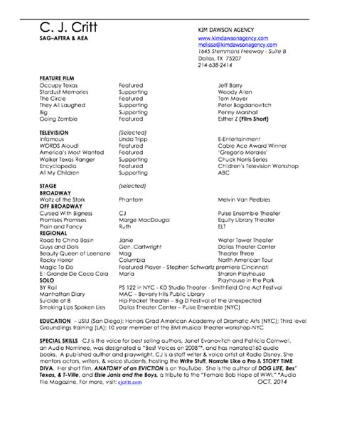 Theatrical Resume Playwright by Cj Critt Vo Sle Reel