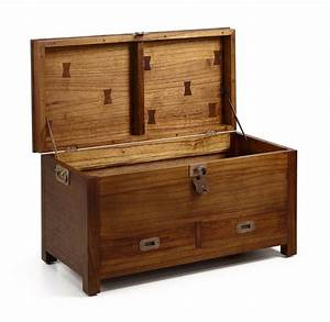 Malle En Bois : malle en bois avec 2 tiroirs de rangement collection mawan ~ Melissatoandfro.com Idées de Décoration