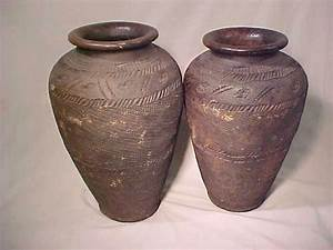 99: PAIR TALL AFRICAN CLAY POTS : Lot 99