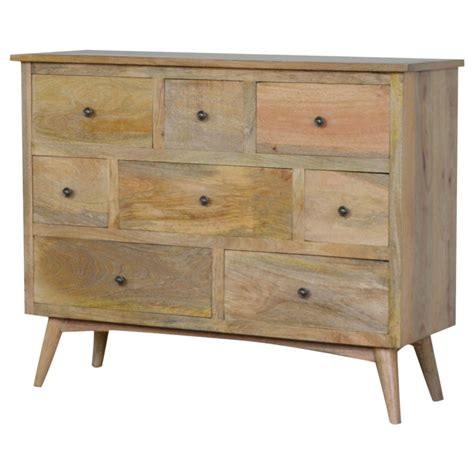 solid mango wood oak finished scandinavian style drawer