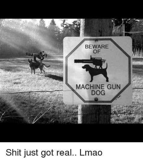 Shit Just Got Real Meme - beware of machine gun dog shit just got real lmao meme on esmemes com