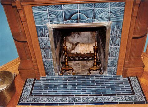 sunset  herons tile victorian style fireplace tiles