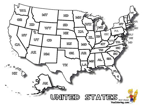 coloring page  united states map  states names