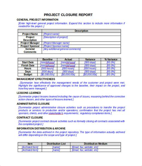 sample project closure report template examples sample