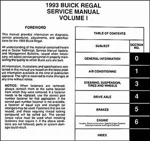 1993 Buick Regal Original Shop Manual 2 Vol Set 93 Repair