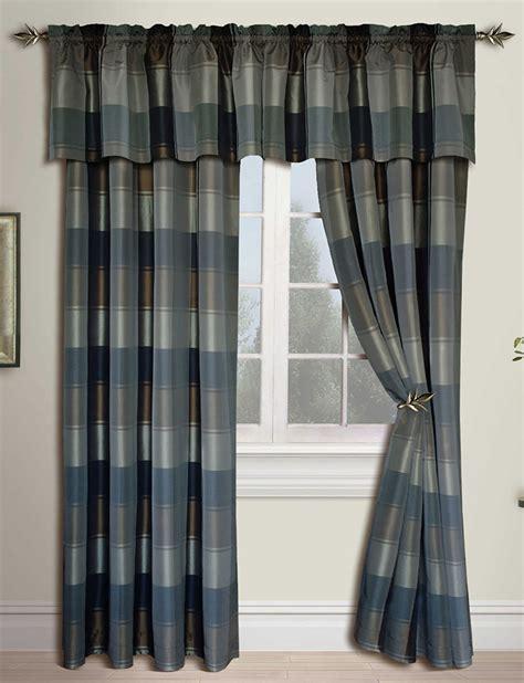 Plaid Panels  Bluegreen  United Curtain Draperies