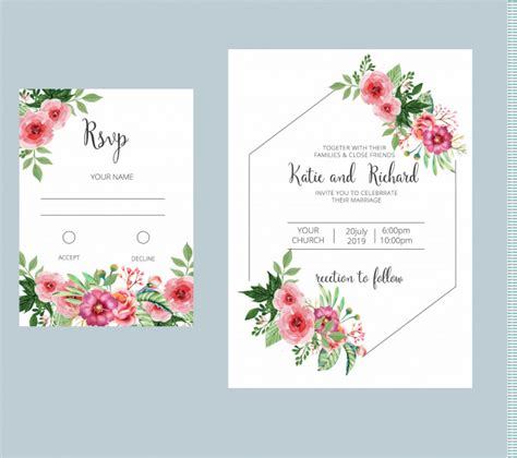 Floral wedding invitation and rsvp card template set