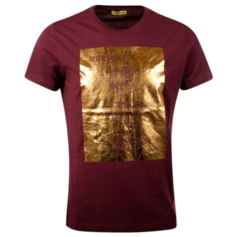burgundy t shirt s versace versace burgundy gold print t shirt