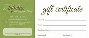 Gift Certificates Infinity Massage Wellness