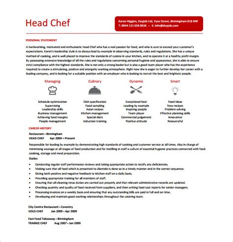 chef resume template 14 free word excel pdf psd