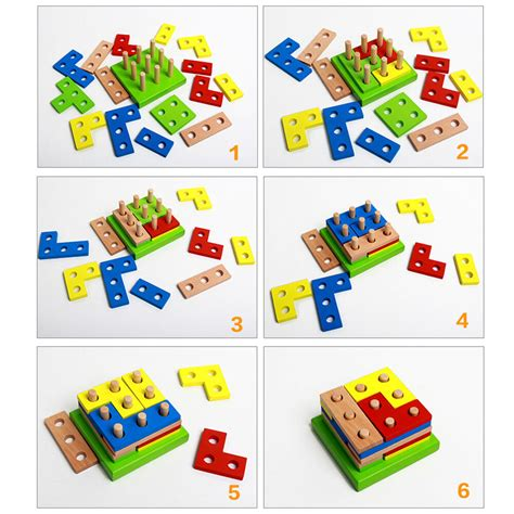 wooden geometry block puzzle montessori educational 988 | s l1000