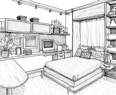 Bedroom Interior Design Drawing  Drawings In 2019