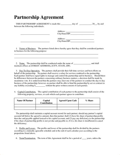 Free Contract Templates For Small Business by Free Small Business Partnership Agreement Template