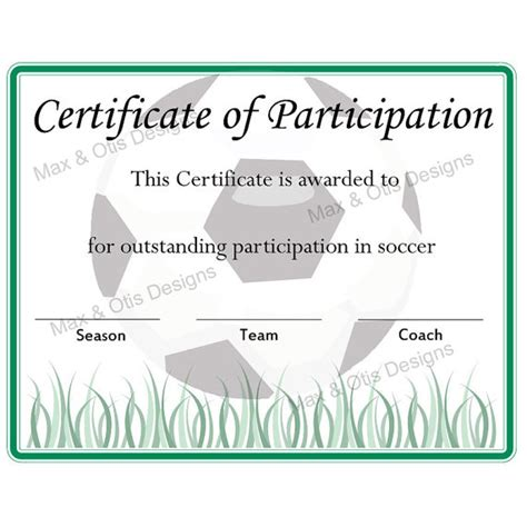 printable soccer participation certificate soccer
